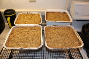 four pans of cookie bars