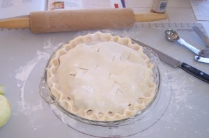Finished unbaked apple pie