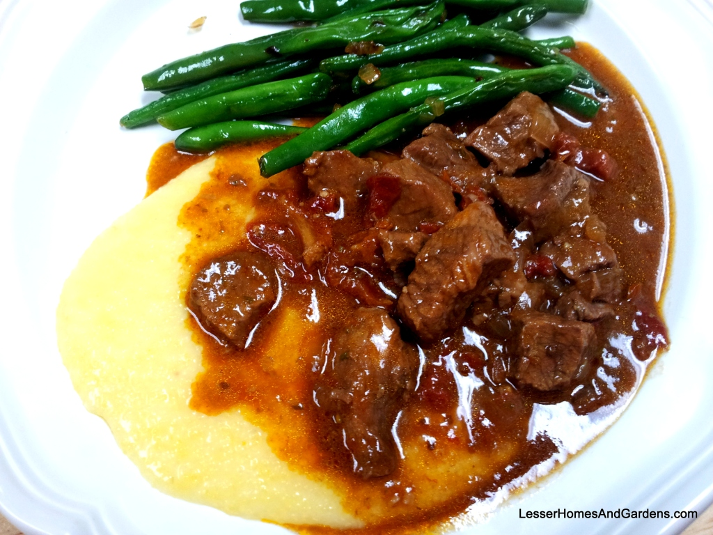 beef stew with polenta and green beans from Lesser Homes & Gardens